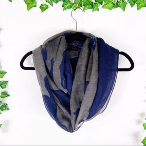 Accessories - Blue & gray patterned infinity scarf